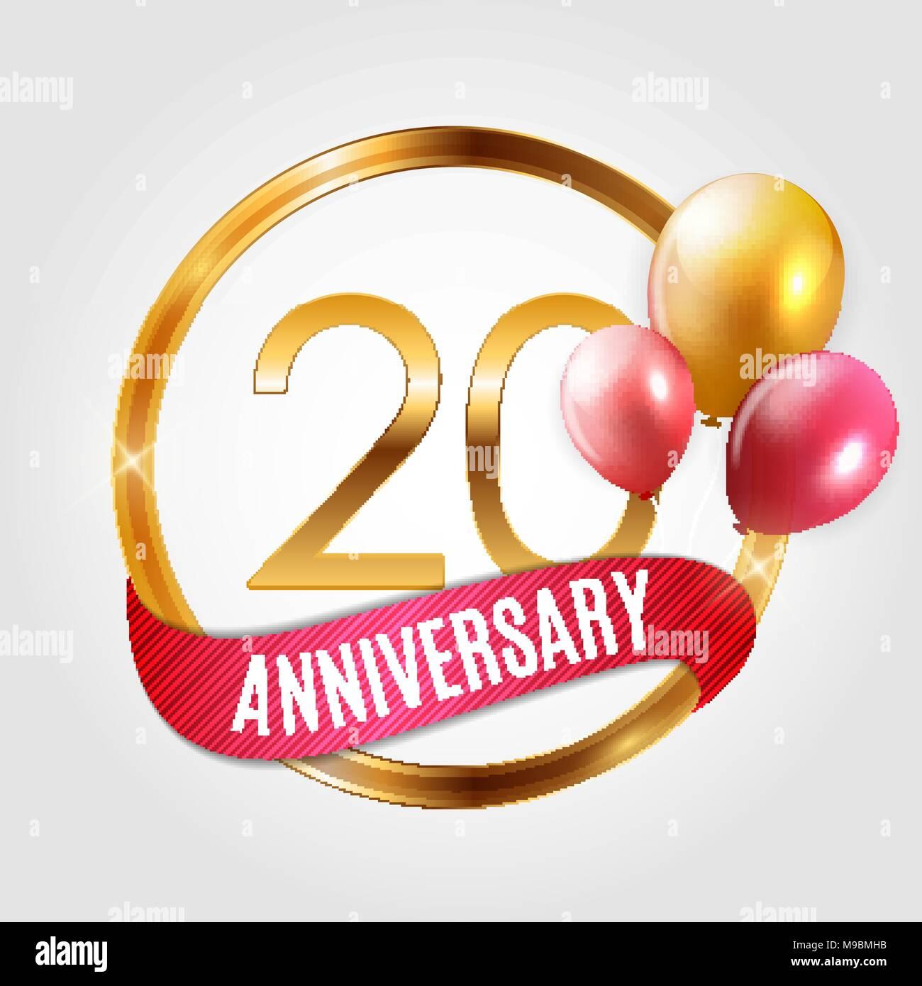 Logo Or Modèle Anniversaire 20 Ans Avec Ruban Et Des Ballons Vector
