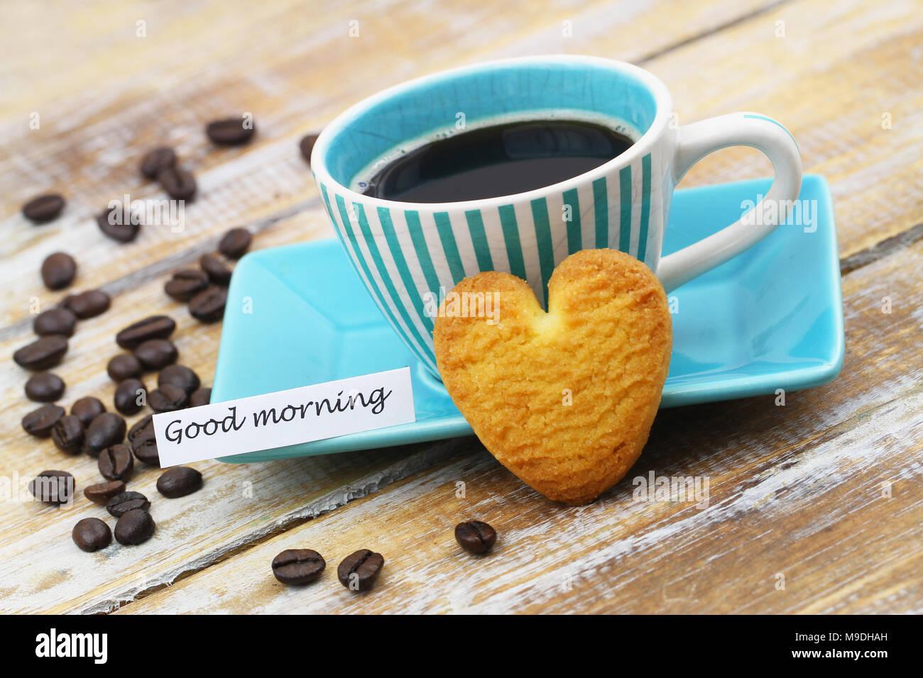 Bonjour Carte Avec Tasse De Café Et Biscuits Croquants En