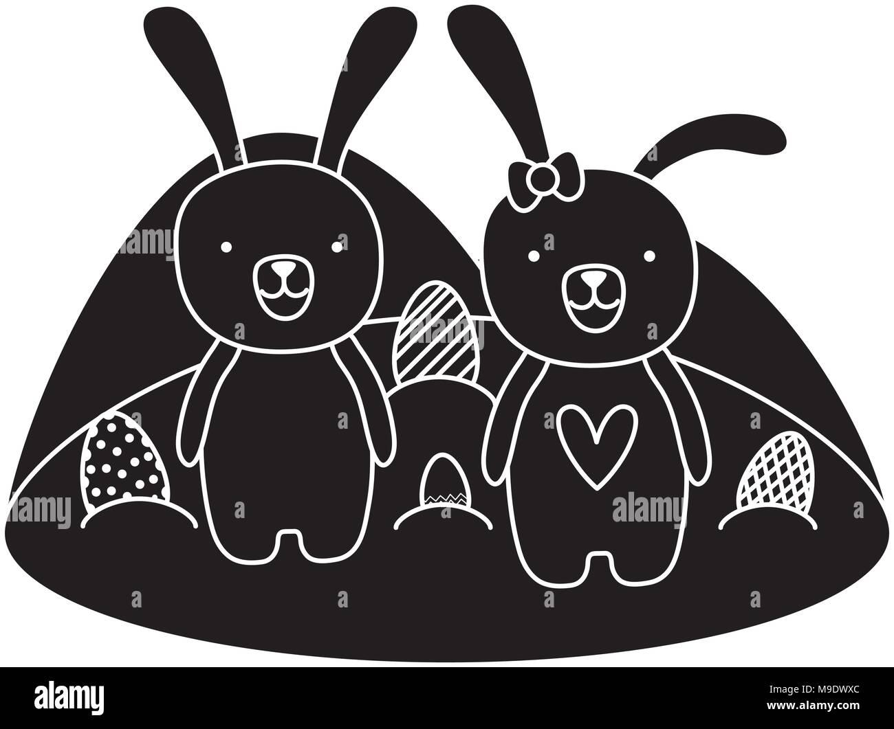 Couple silhouette animal lapin de Pâques avec des oeufs Illustration de Vecteur