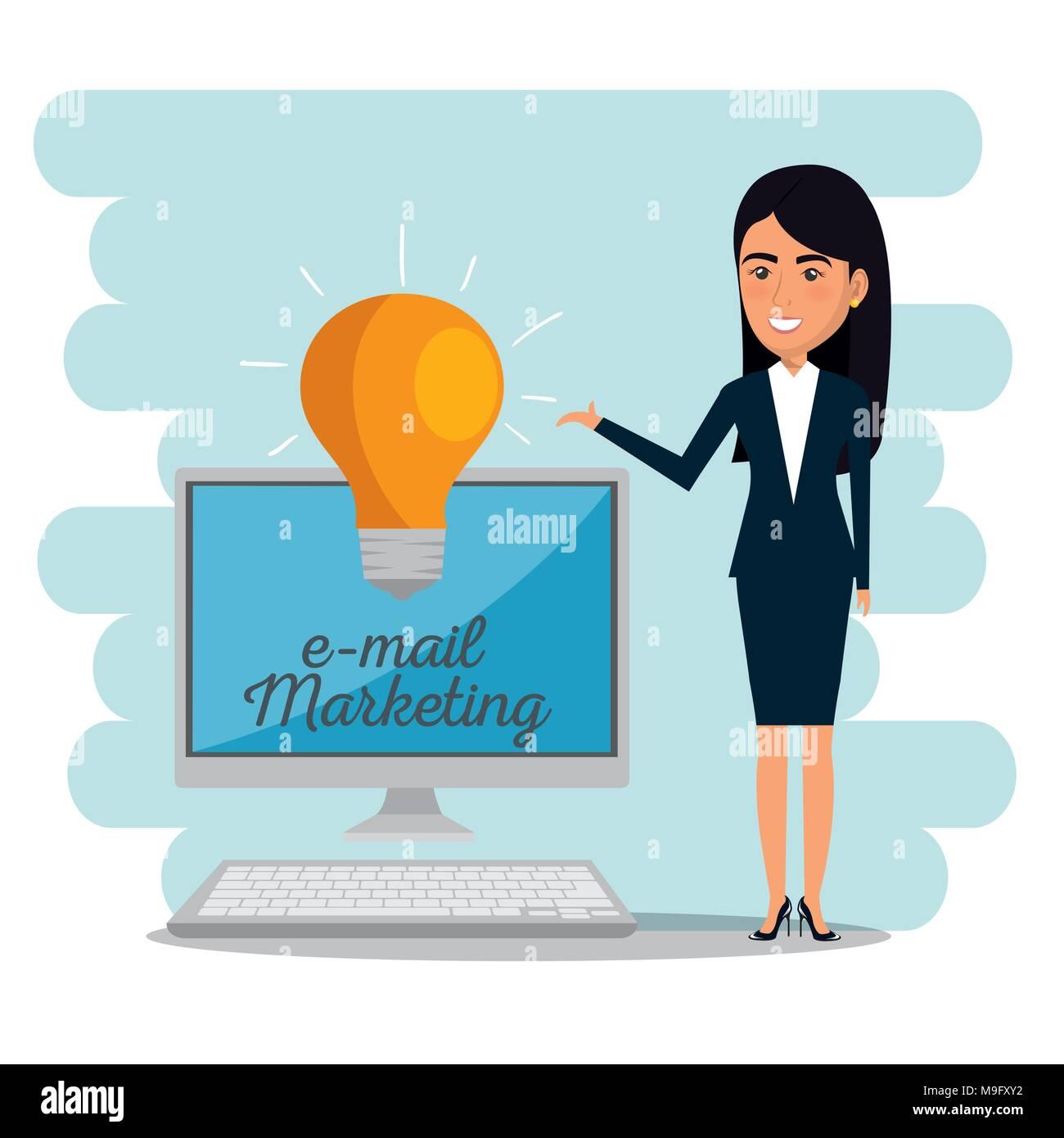 Avec femme d'icônes e-mail marketing Photo Stock
