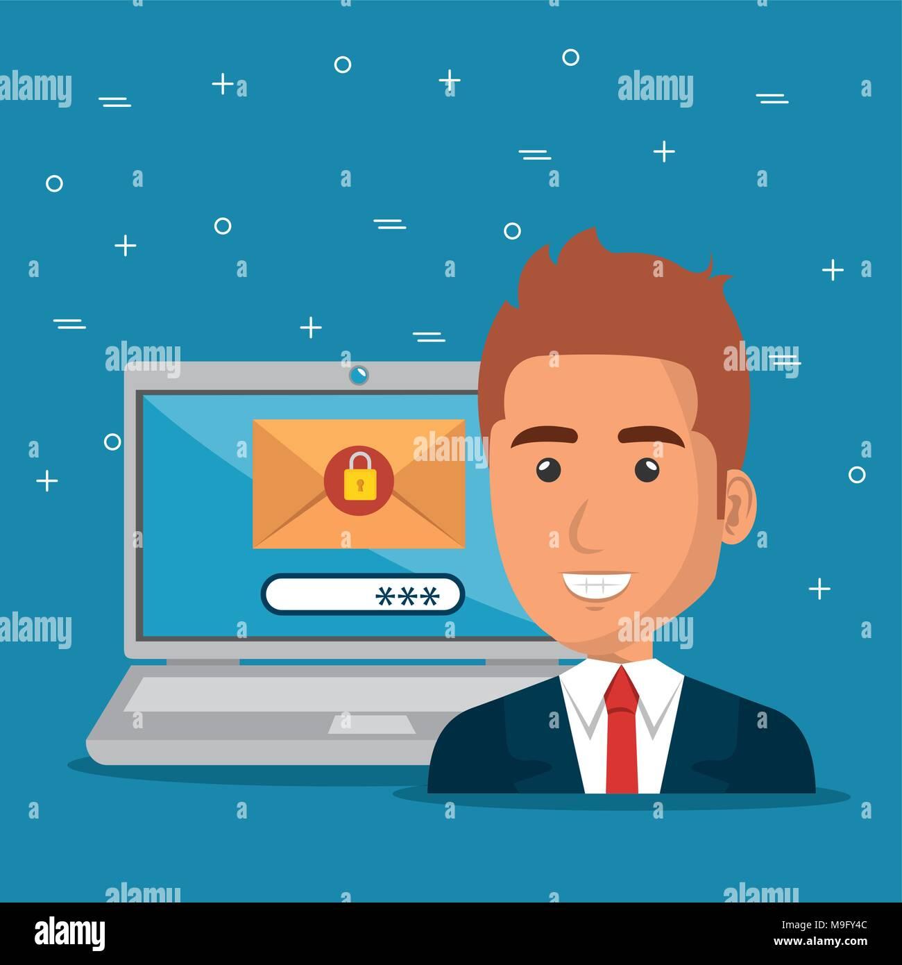 Avec l'homme d'icônes e-mail marketing Photo Stock