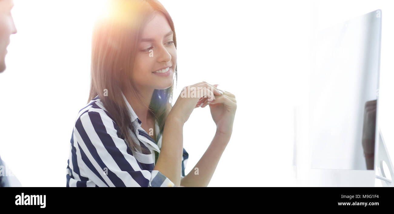 Femme Manager de parler au client. Banque D'Images