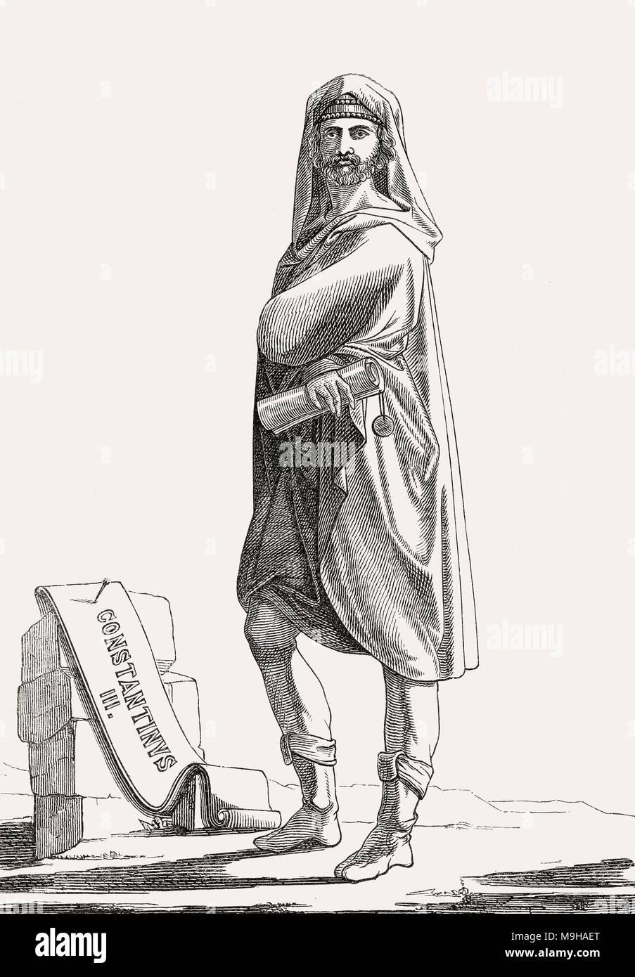 Constantin III, empereur romain de l'Est pour quatre mois en 641 Photo Stock