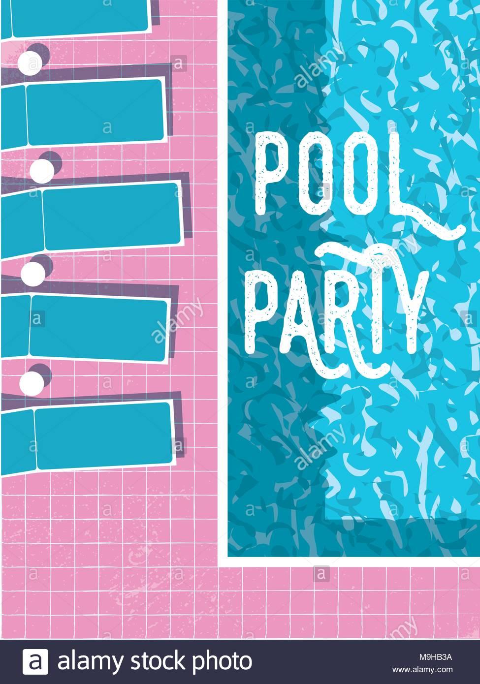 Summer Pool Party Invitation Affiche Flyer Modele Vectoriel Avec