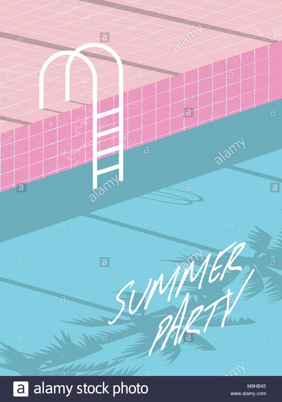 Summer Pool Party Invitation Flyer Affiche Banniere Modele Retro