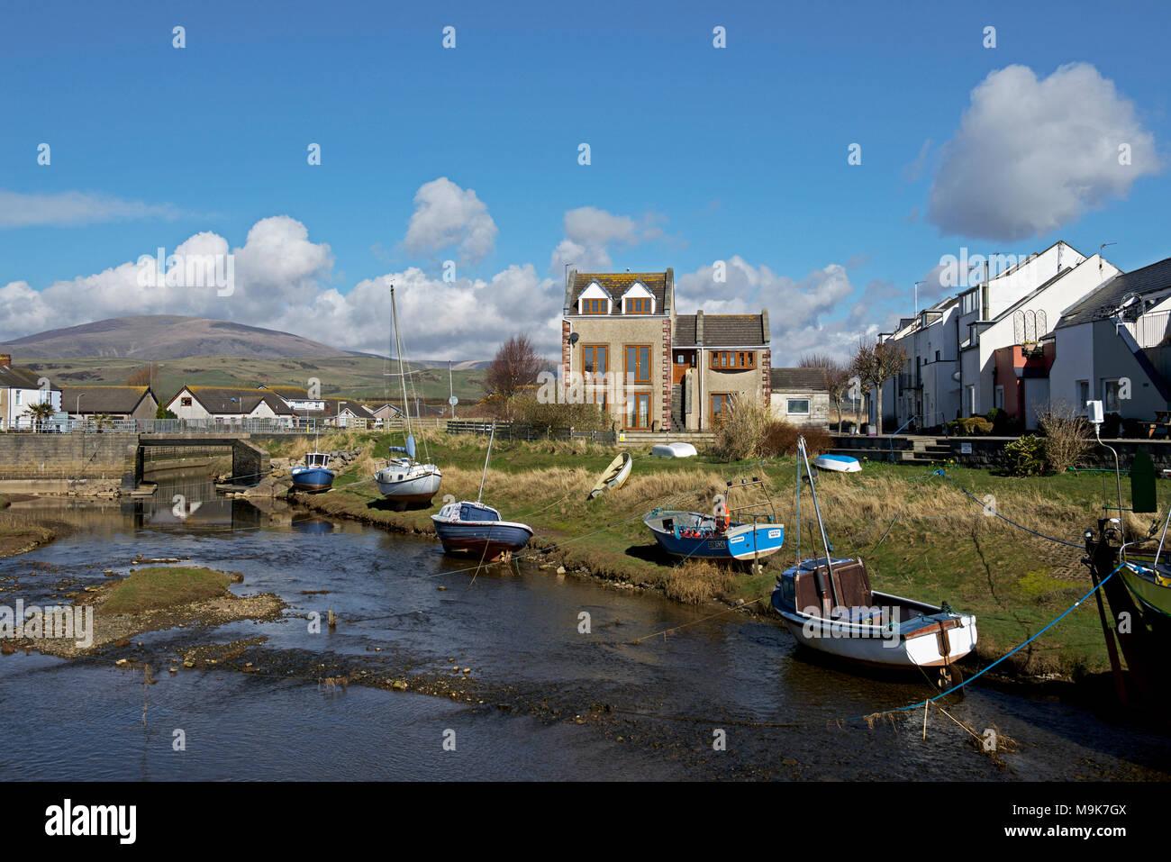 Haverigg et paresseux de la rivière West Cumbria, Angleterre, Royaume-Uni Photo Stock
