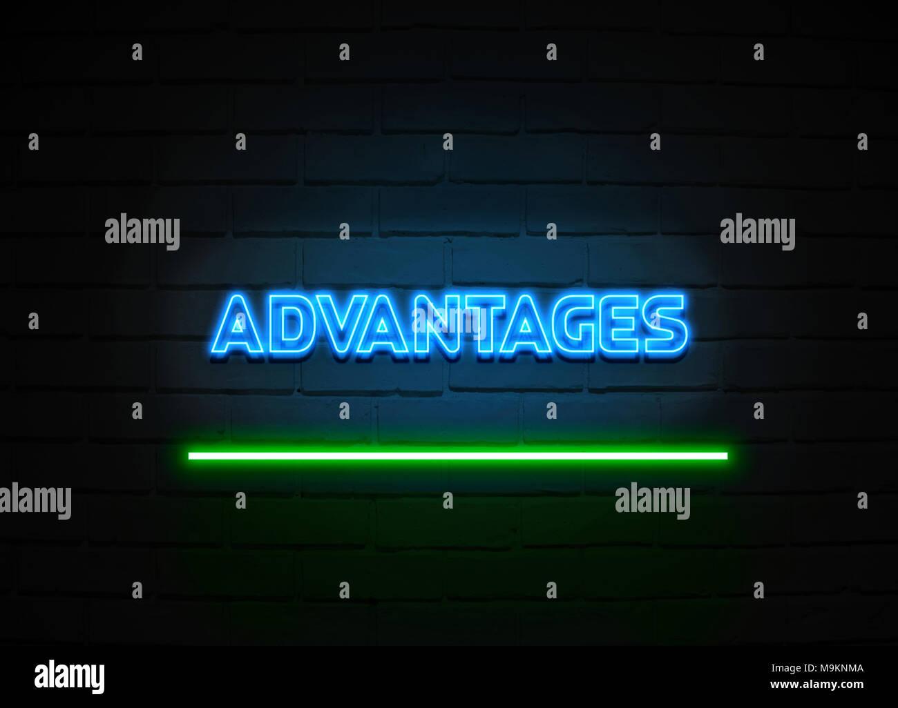 Avantages en néon - Glowing Neon Sign sur mur brickwall - rendu 3D illustration libres de droits. Photo Stock