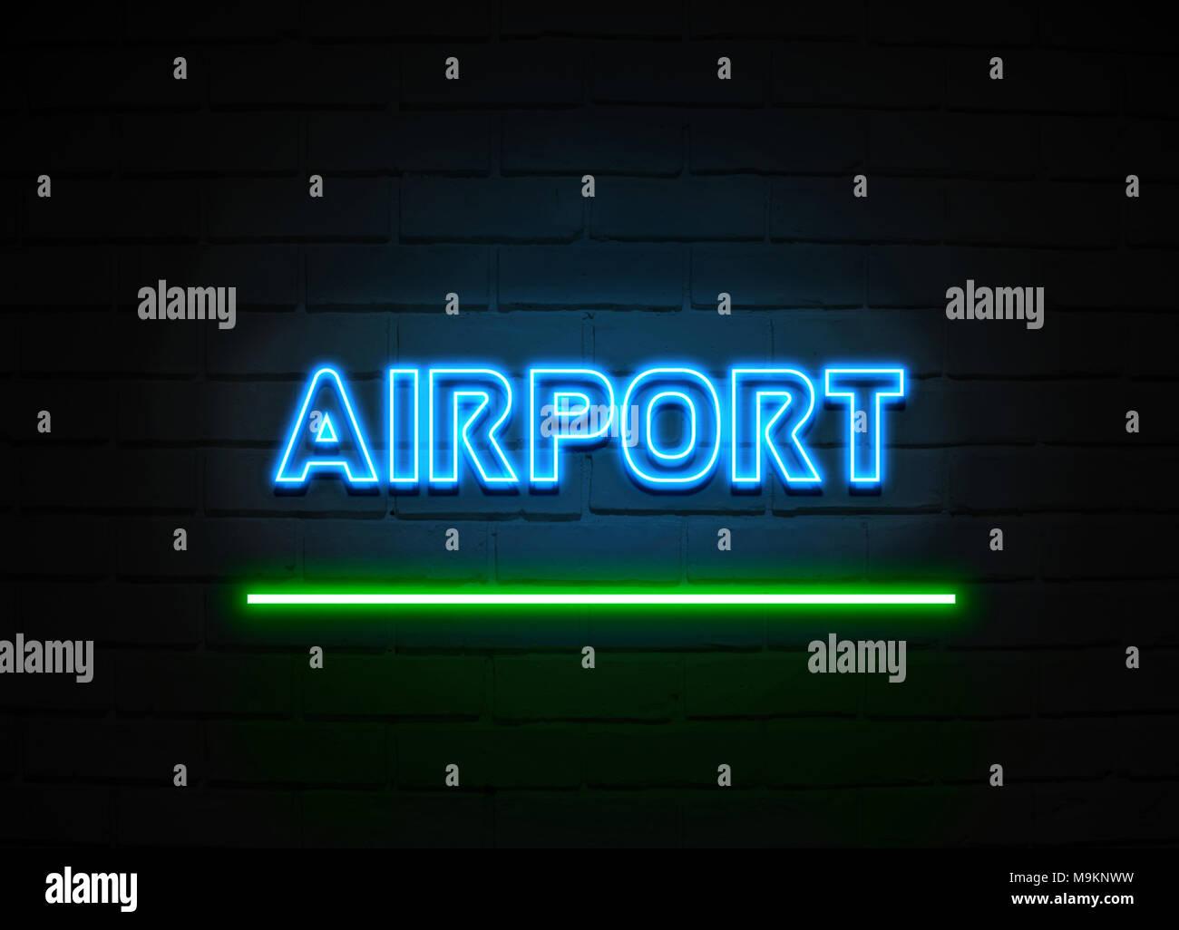 Neon A Accrocher Au Mur enseigne au néon de l'aéroport - glowing neon sign sur mur