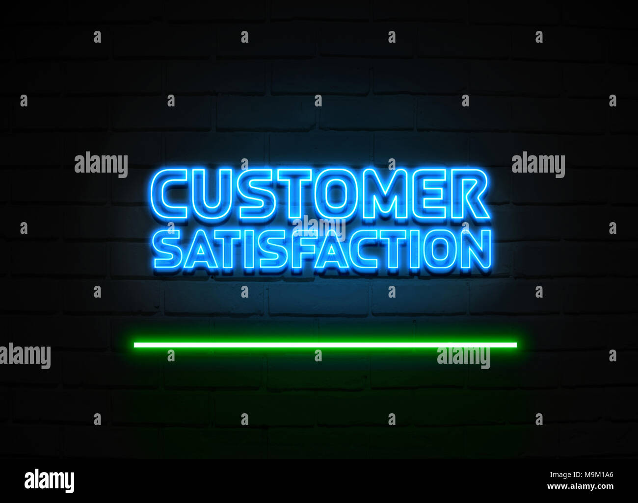 La satisfaction de l'enseigne au néon - Glowing Neon Sign sur mur brickwall - rendu 3D illustration libres de droits. Photo Stock