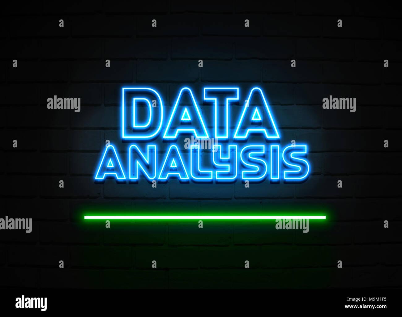 L'analyse des données en néon - Glowing Neon Sign sur mur brickwall - rendu 3D illustration libres de droits. Photo Stock