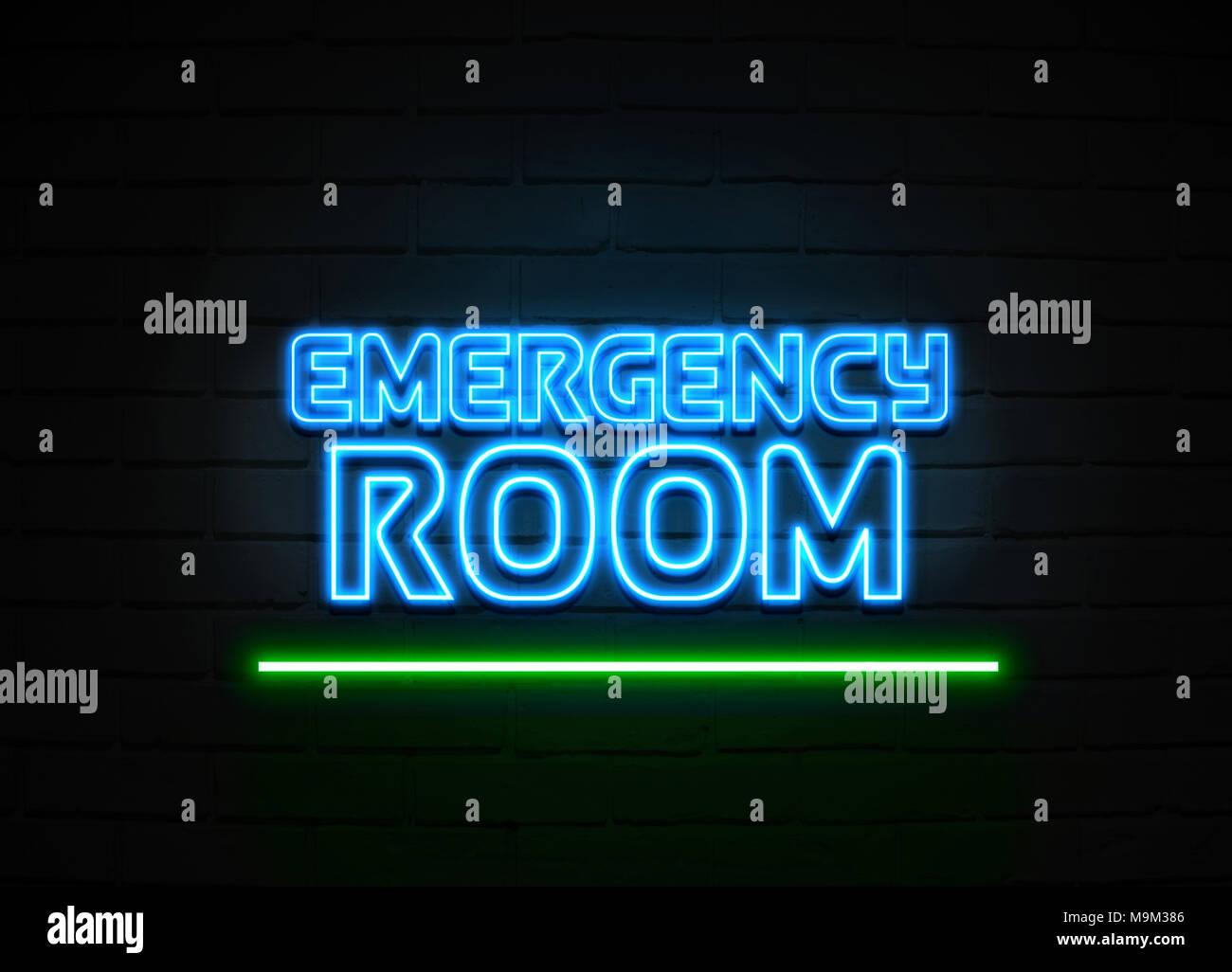 La salle d'urgence en néon - Glowing Neon Sign sur mur brickwall - rendu 3D illustration libres de droits. Banque D'Images