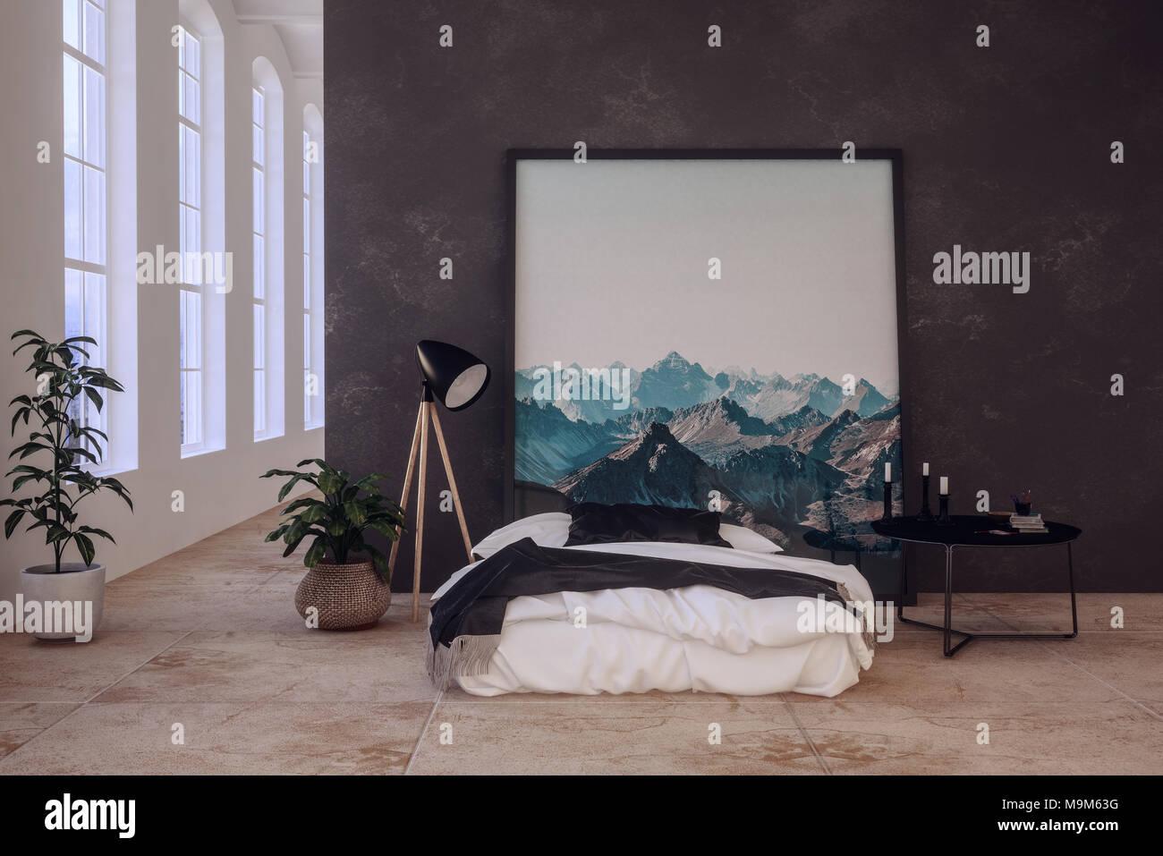 Chambre à Coucher Moderne, Tendance à Lu0027oeuvre De Montagne Au Dessus Du0027un  Divan Lit Style ...