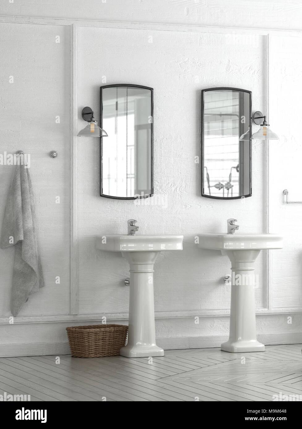 Meuble-lavabo double ou lavabos dans une élégante salle de bains ...