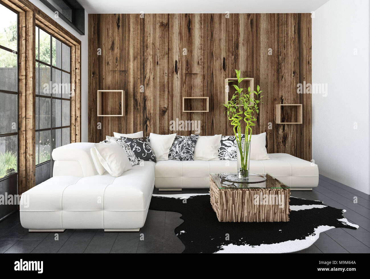 Confortable salon rustique moderne avec revêtement en bois ...