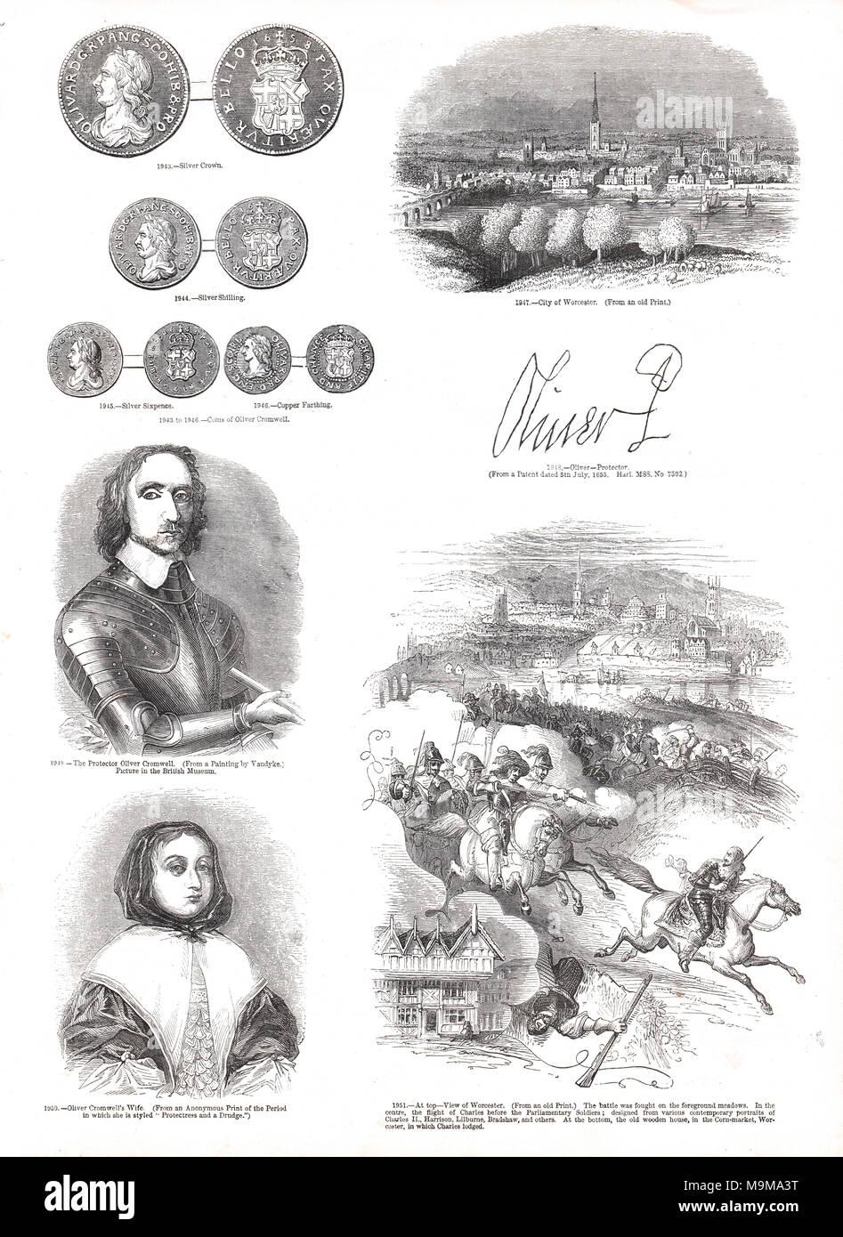 Sélection d'Oliver Cromwell images connexes, Cromwell, Cromwell's femme, Elizabeth Cromwell, signature de Cromwell Cromwell, pièces, ville de Worcester Photo Stock