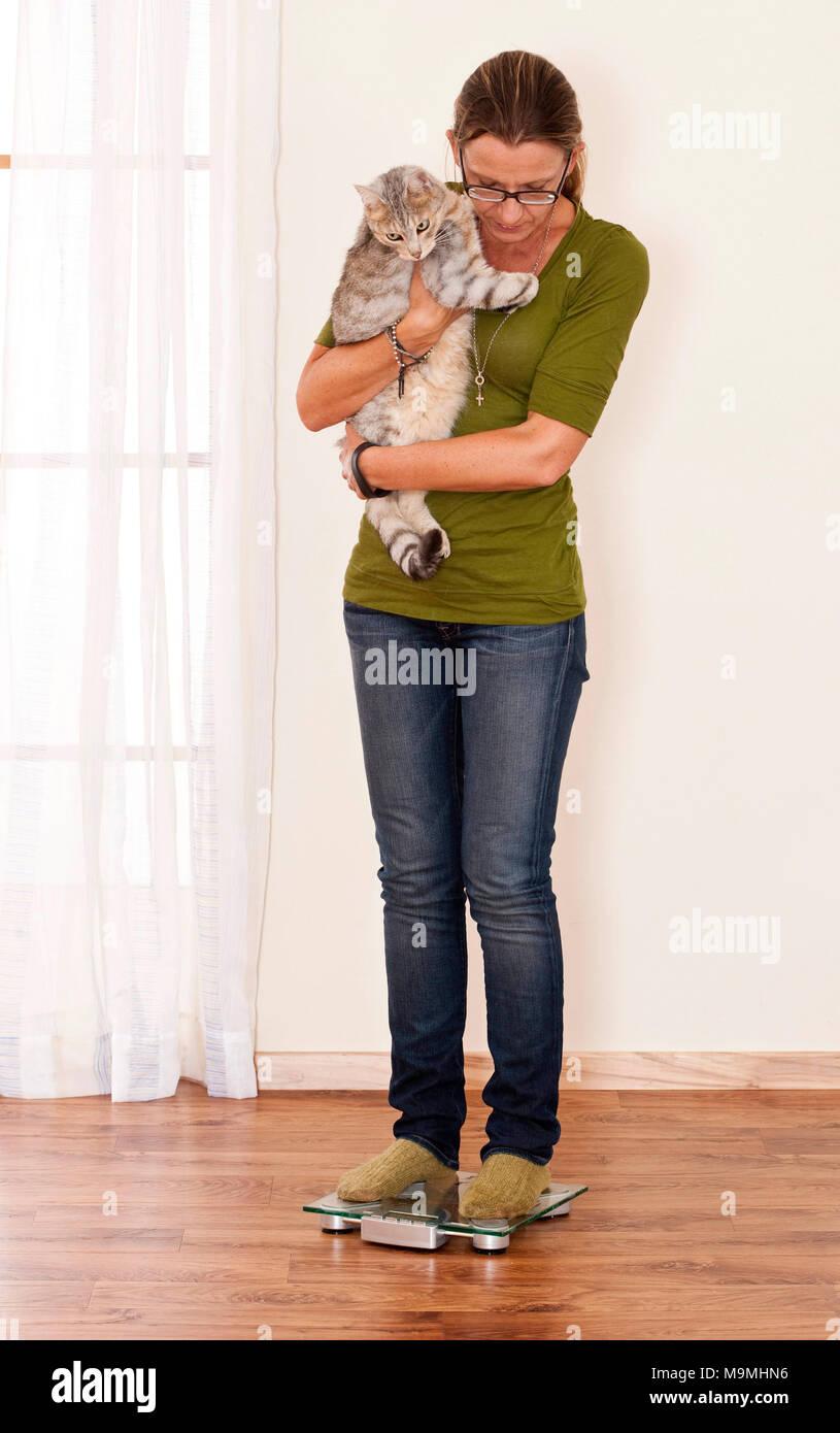 Femme peser un chat par pesage, lui-même plus que de retrancher l'animal et son propre poids. L'Allemagne. Photo Stock