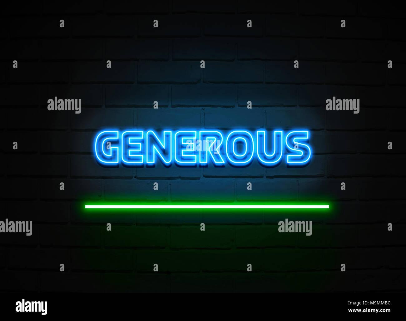 Enseigne au néon généreux - Glowing Neon Sign sur mur brickwall - rendu 3D illustration libres de droits. Photo Stock