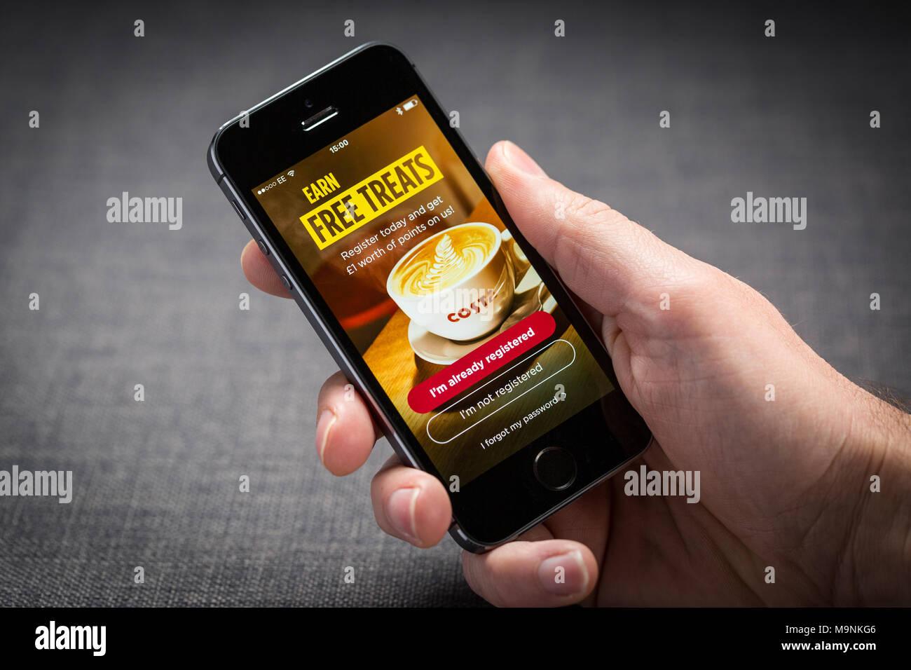 Costa Coffee app sur un iPhone Photo Stock