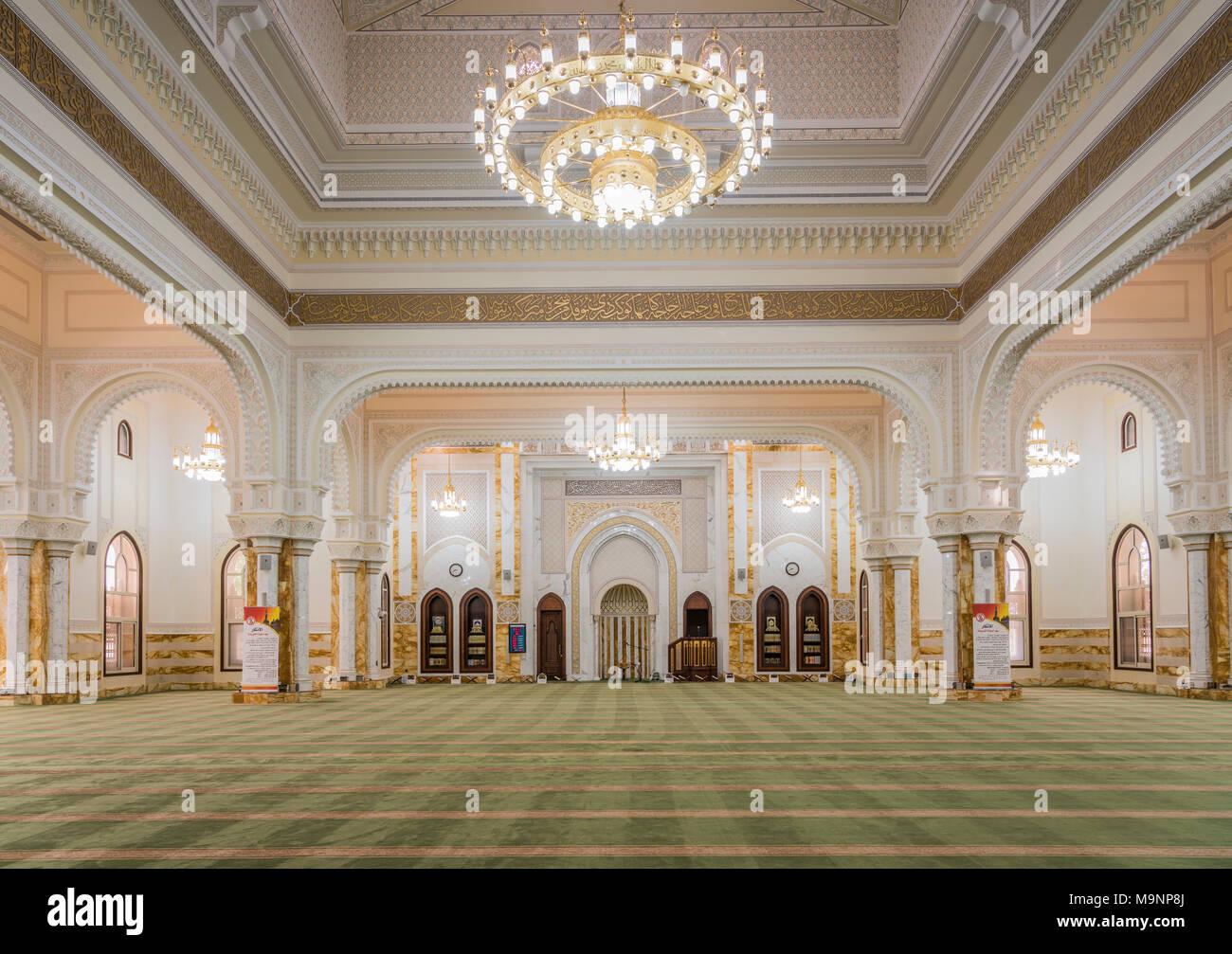 L'intérieur de la mosquée Al Manara à Dubaï, Émirats arabes unis, au Moyen-Orient. Photo Stock