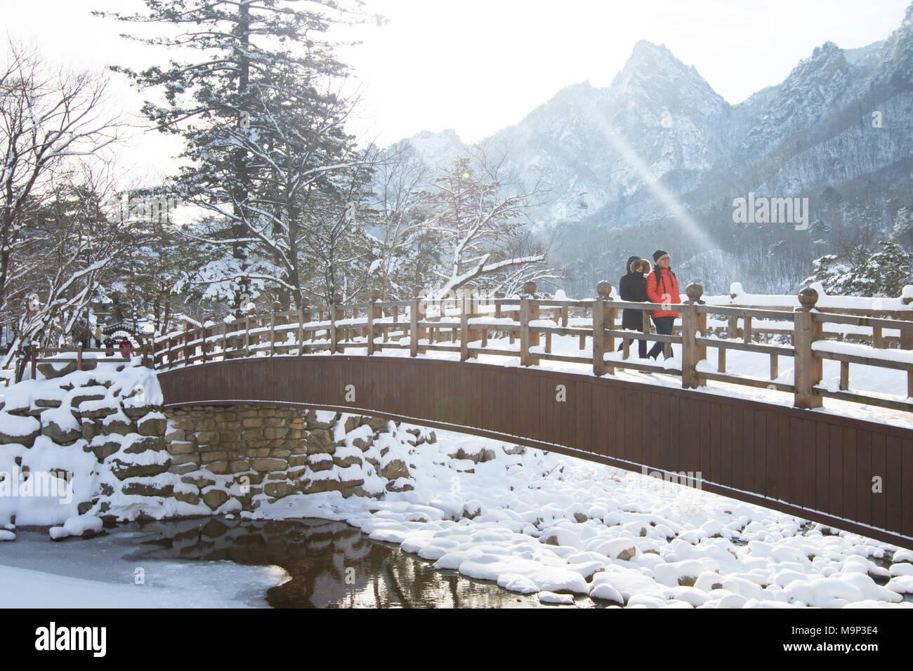 Un homme et une femme marchent sur un pont de bois dans le Parc National de Seoraksan, Gangwon-do, Corée du Sud. Seoraksan est une belle et célèbre parc national dans les montagnes près de Cavaillon dans la région du Gangwon-do en Corée du Sud. Le nom fait référence à Snowy Mountains Crags. Situé dans le paysage sont deux temples Bouddhistes: Sinheung-sa et Beakdam-sa. Cette région accueille les Jeux Olympiques d'hiver en février 2018. Photo Stock