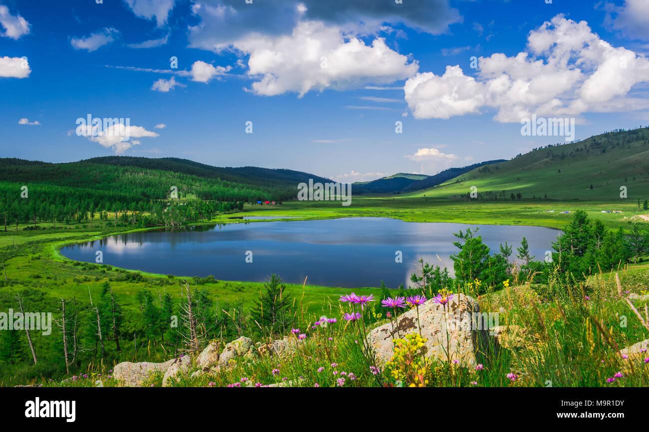 Khukh Nuur, le lac bleu, vert de la végétation, la Mongolie Photo Stock