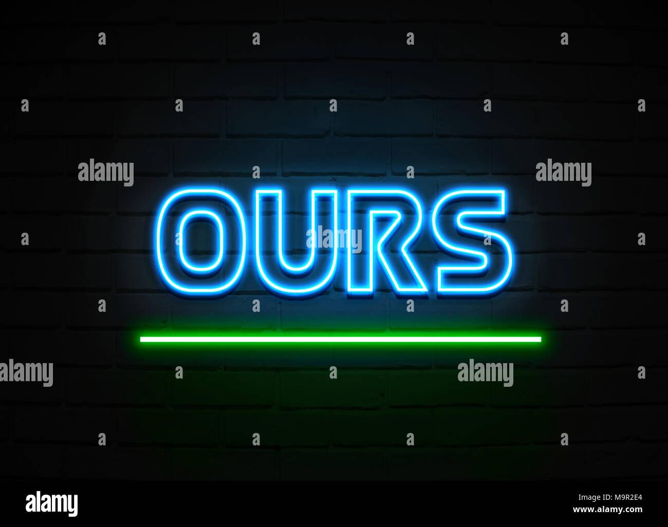 La nôtre en néon - Glowing Neon Sign sur mur brickwall - rendu 3D illustration libres de droits. Photo Stock