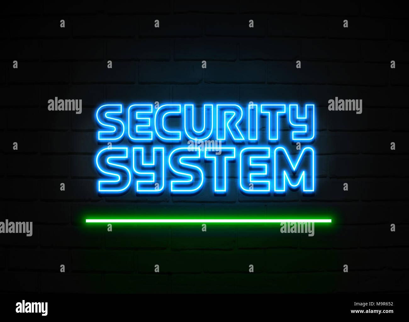 Neon A Accrocher Au Mur système de sécurité en néon - glowing neon sign sur mur