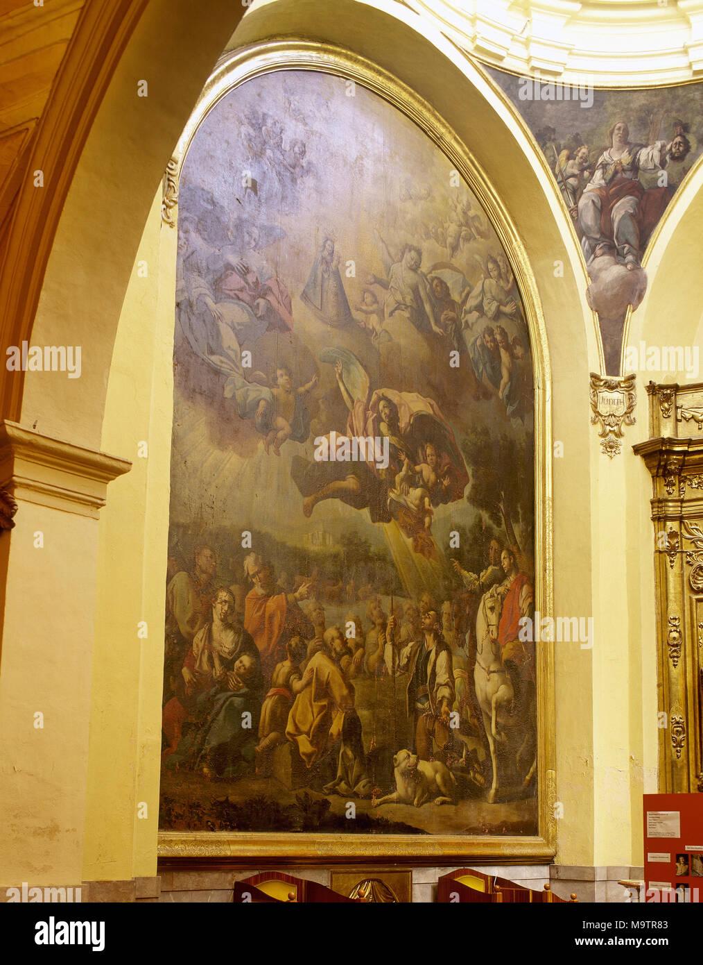 Apparition de Notre Dame de Saragosse la Vieja ,1750. Par le peintre baroque espagnol Jose Luzan (1710-1785). Église de San Miguel de los Navarros. Zaragoza, Aragon, Espagne. Photo Stock