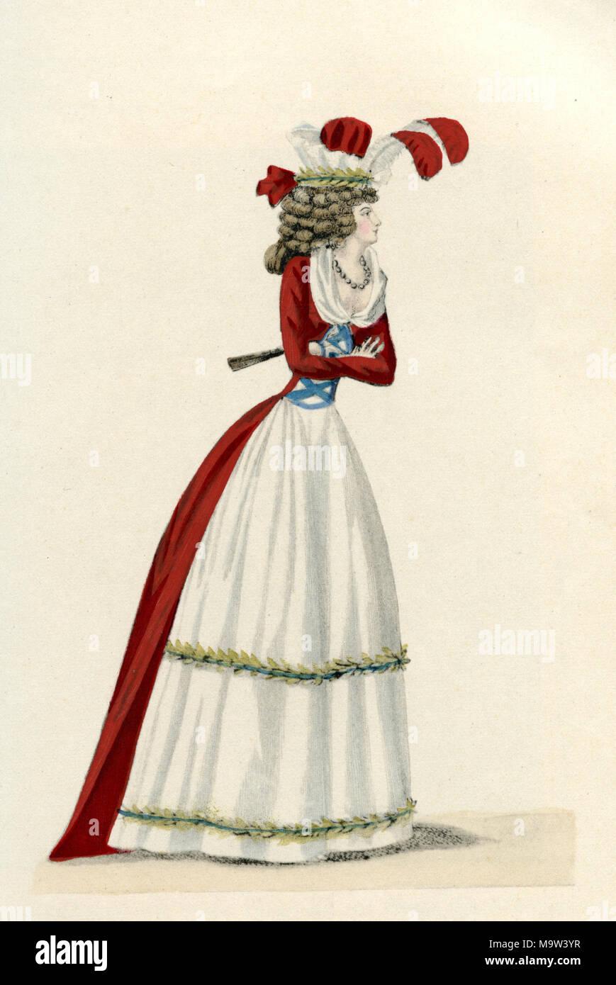 La mode féminine du Journal des Dames, 1791 Photo Stock