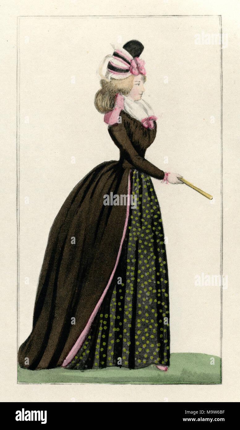 La mode pour femmes, de Journal des Dames, 1793 Photo Stock