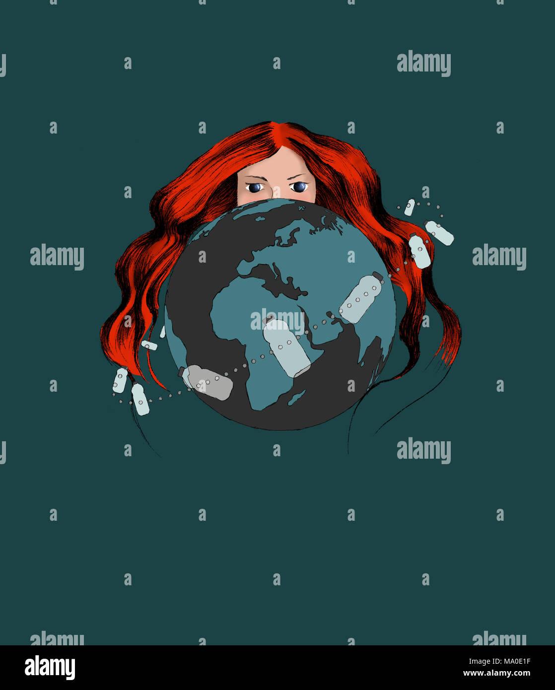 Avec l'affiche: thème écologique la pollution plastique. Femme rousse représentant la terre mère se cacher derrière la planète Terre. Photo Stock