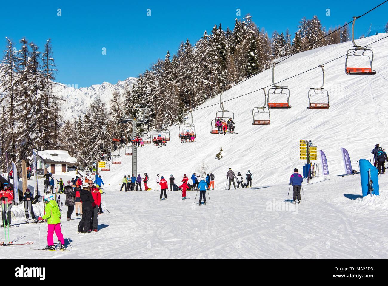 Station de ski de Pila, vallée d'aoste, Italie Photo Stock