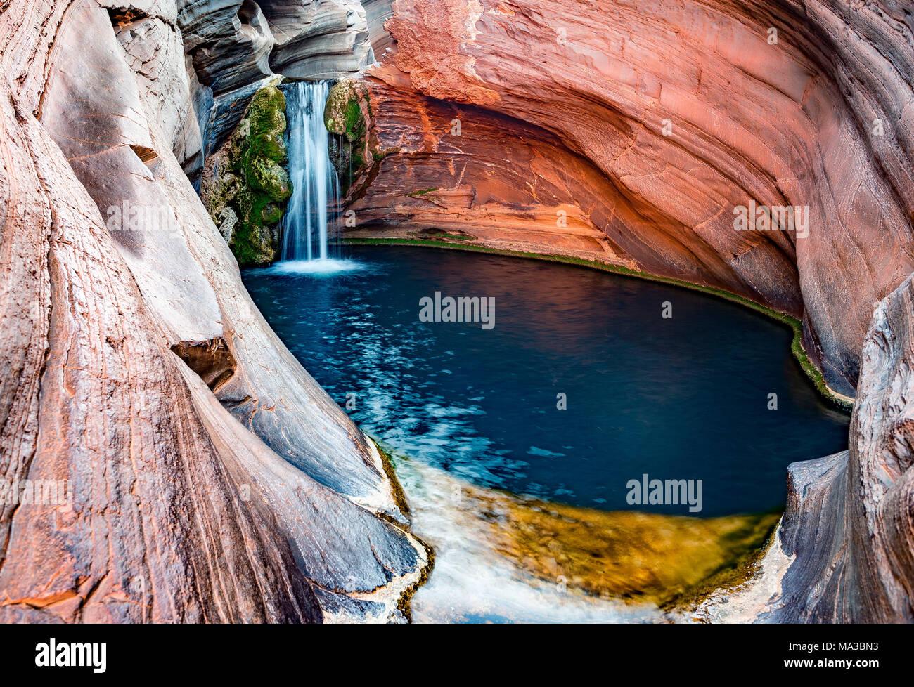 Hamersley Gorge, piscine thermale, parc national de Karijini, Nord Ouest, l'ouest de l'Australie Banque D'Images