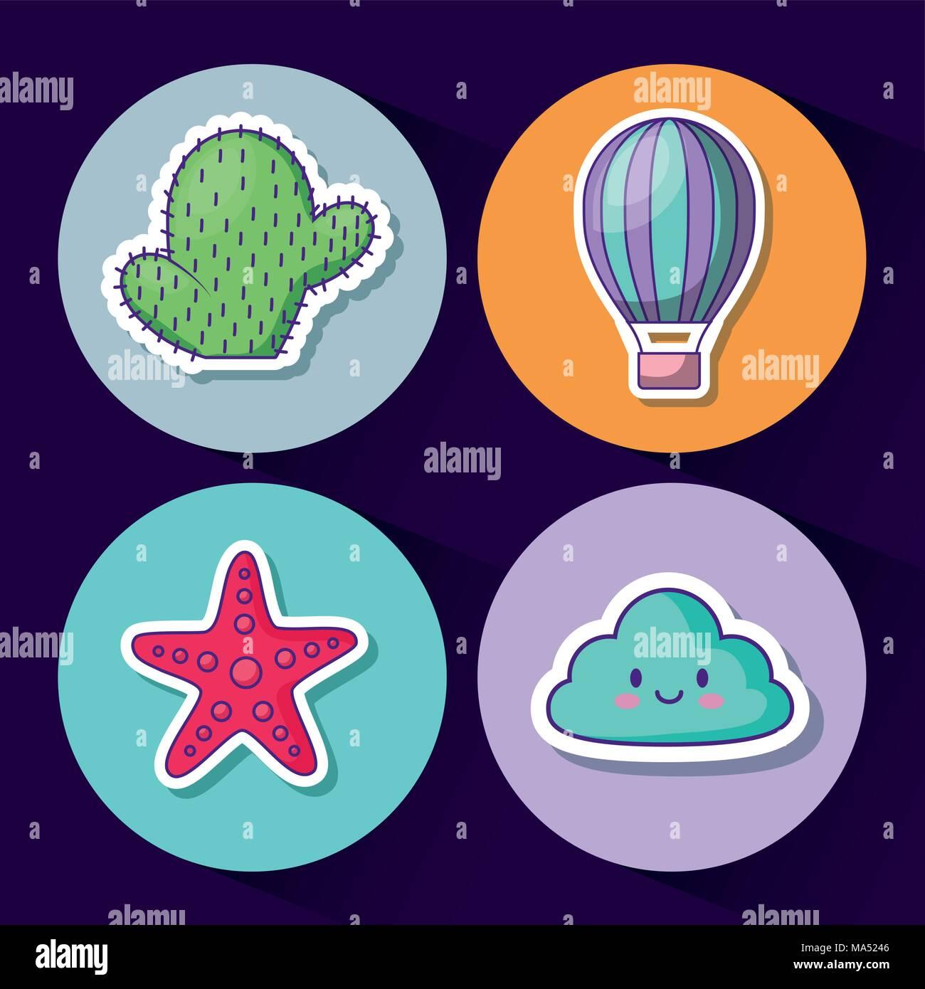 Ensemble de l'icône nuage kawaii cute et cercles colorés au concept et le fond bleu, vector illustration Illustration de Vecteur
