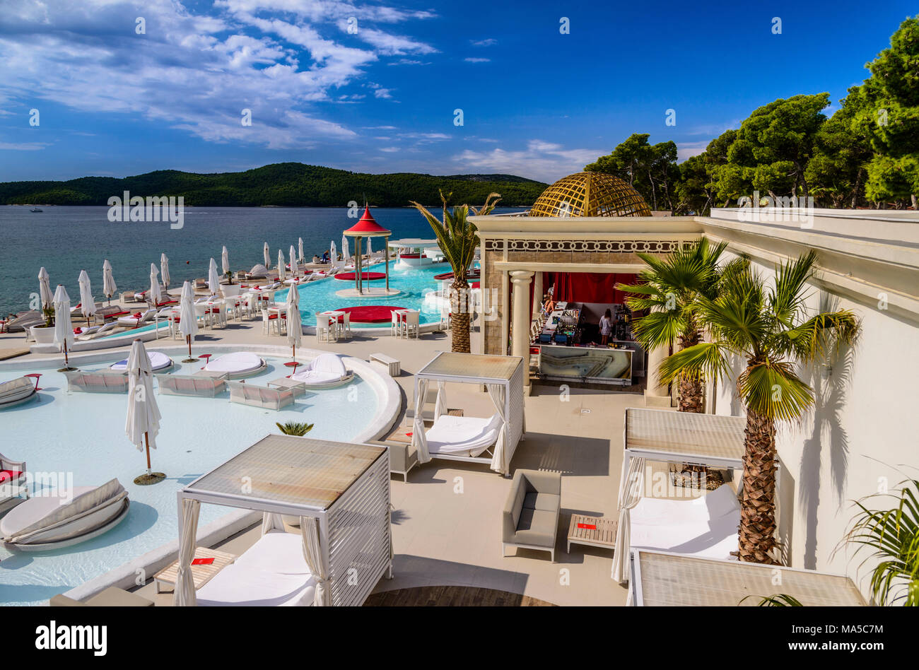 La Croatie, Dalmatie, Sibenik, Solaris Beach Resort, En Vogue Beach Club Photo Stock