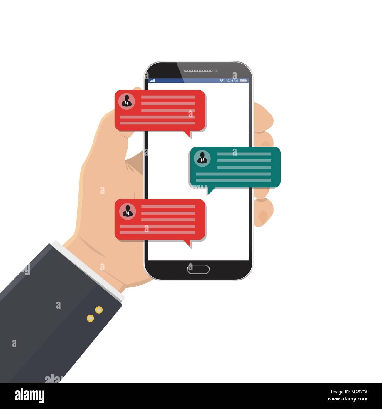 Notifications de message Chat téléphone mobile vector illustration isolé sur  un fond de couleur, la 2e0d8028c4e4