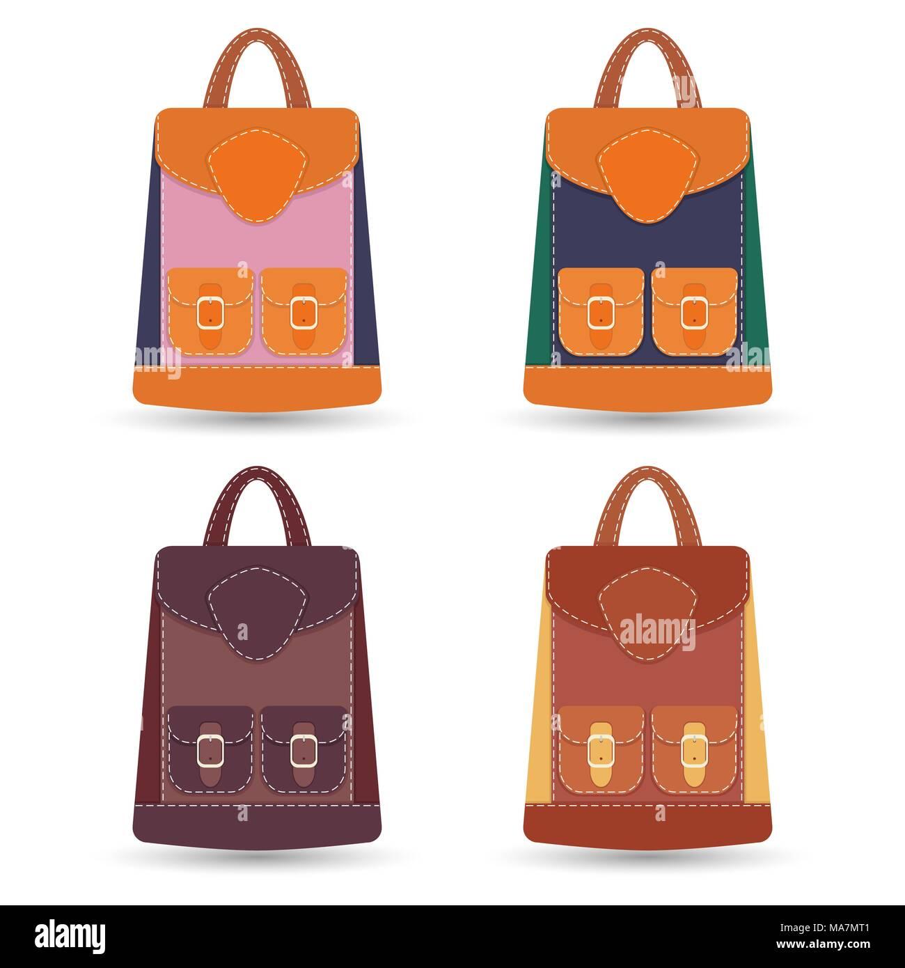 Collection de sacs à dos en cuir coloré élégant avec poches et surpiqûres  blanches. Illustration ff894ea43cc