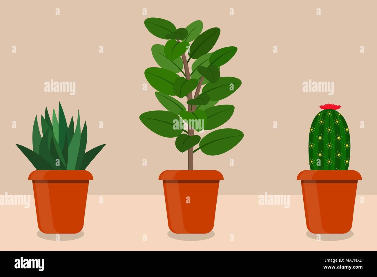 cette chambre de style appartement plantes en pots, vector