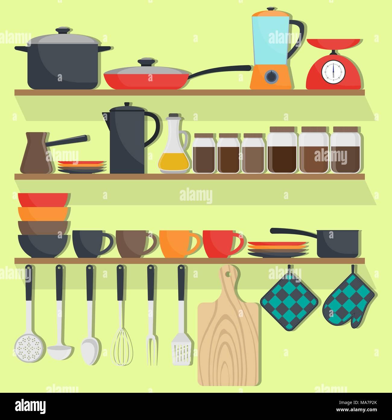 cuisine étagères sur Des vaisselle ustensiles et de les Nwyv80nmO