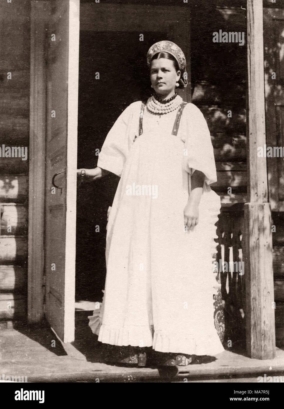 19e siècle vintage photo Russie - Portrait d'une femme Russe - une infirmière Photo Stock