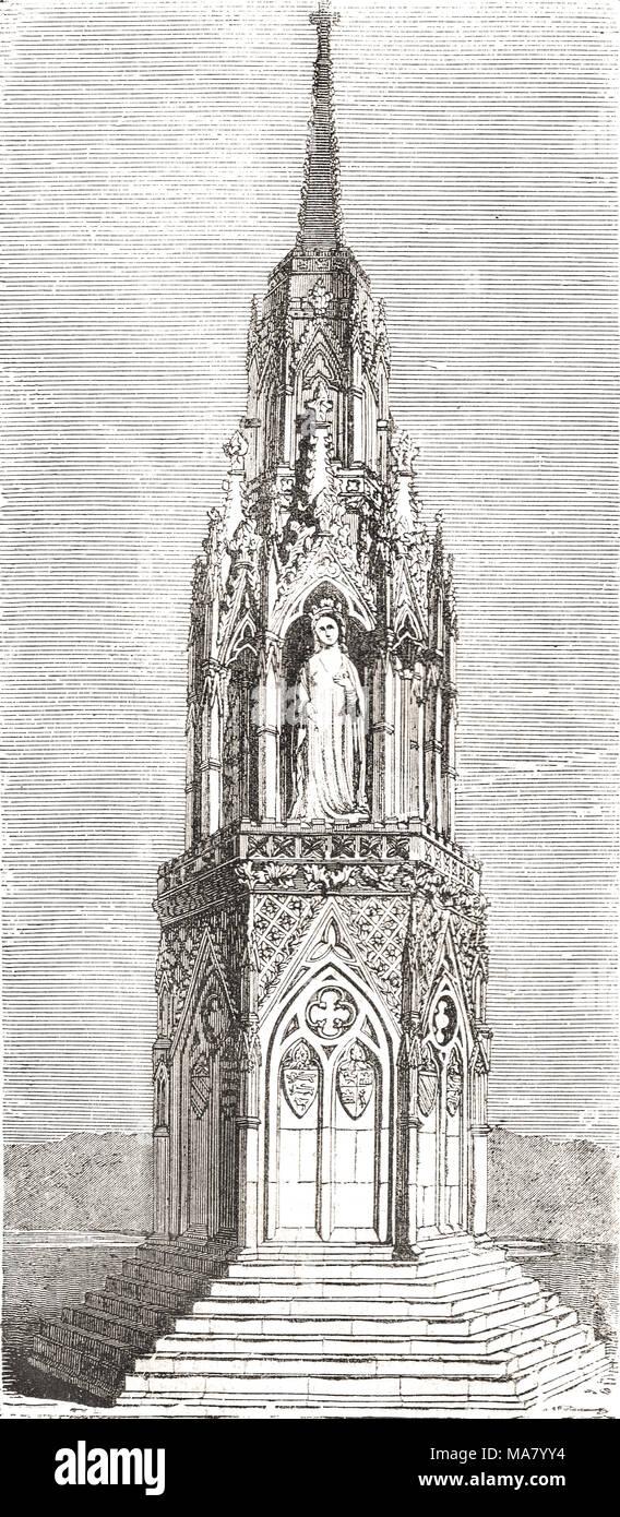 L'Eleanor Cross à Waltham Cross, Hertfordshire, l'un des derniers 3 intacts Photo Stock