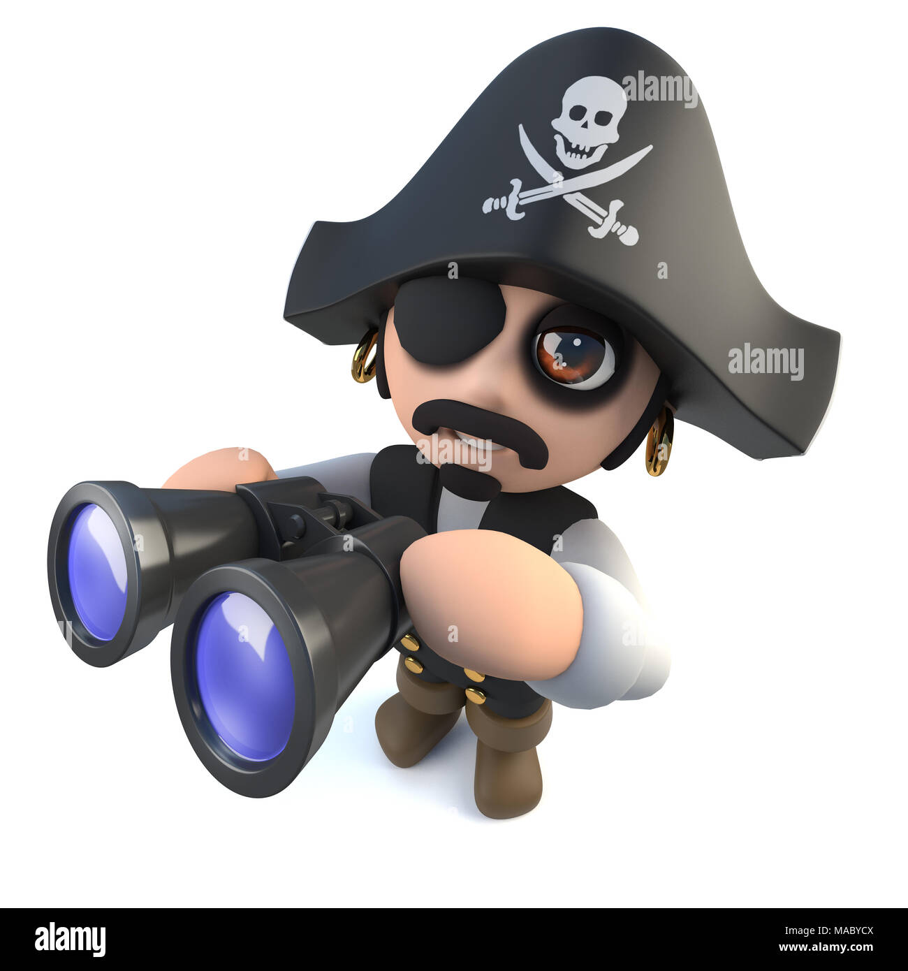 3d Render Of A Funny Cartoon Caractere Capitaine Pirate Binoculars