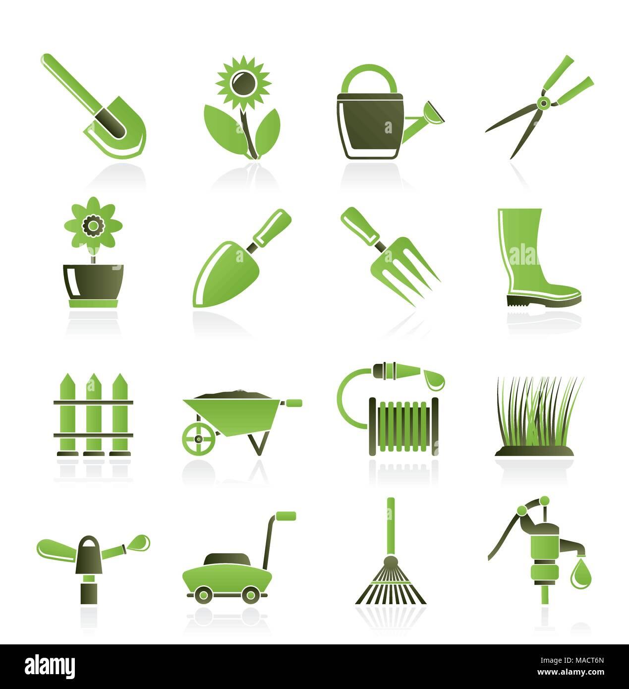 Jardin et outils de jardinage et les icônes des objets - vector icon set Photo Stock