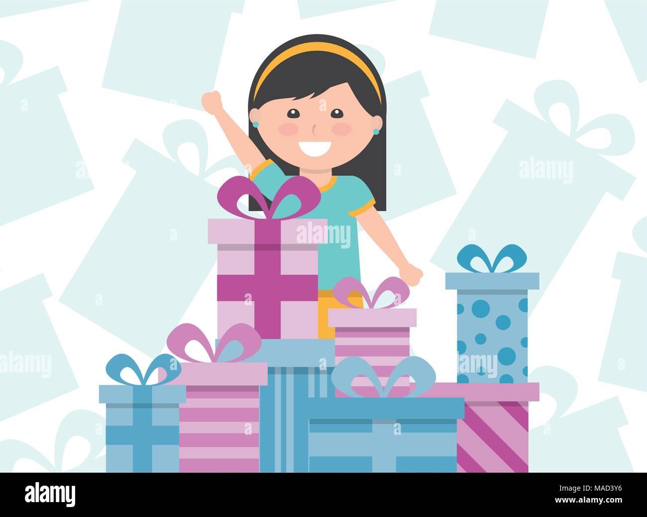 Jeune Fille Mignonne Avec Cadeaux Empiles Enfants Joyeux