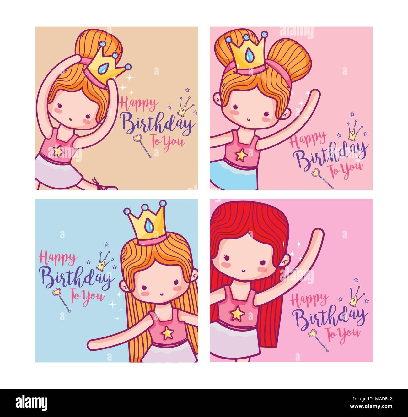 Happy Birthday Card Cute Girl Ballet Dancers Cartoon Vector