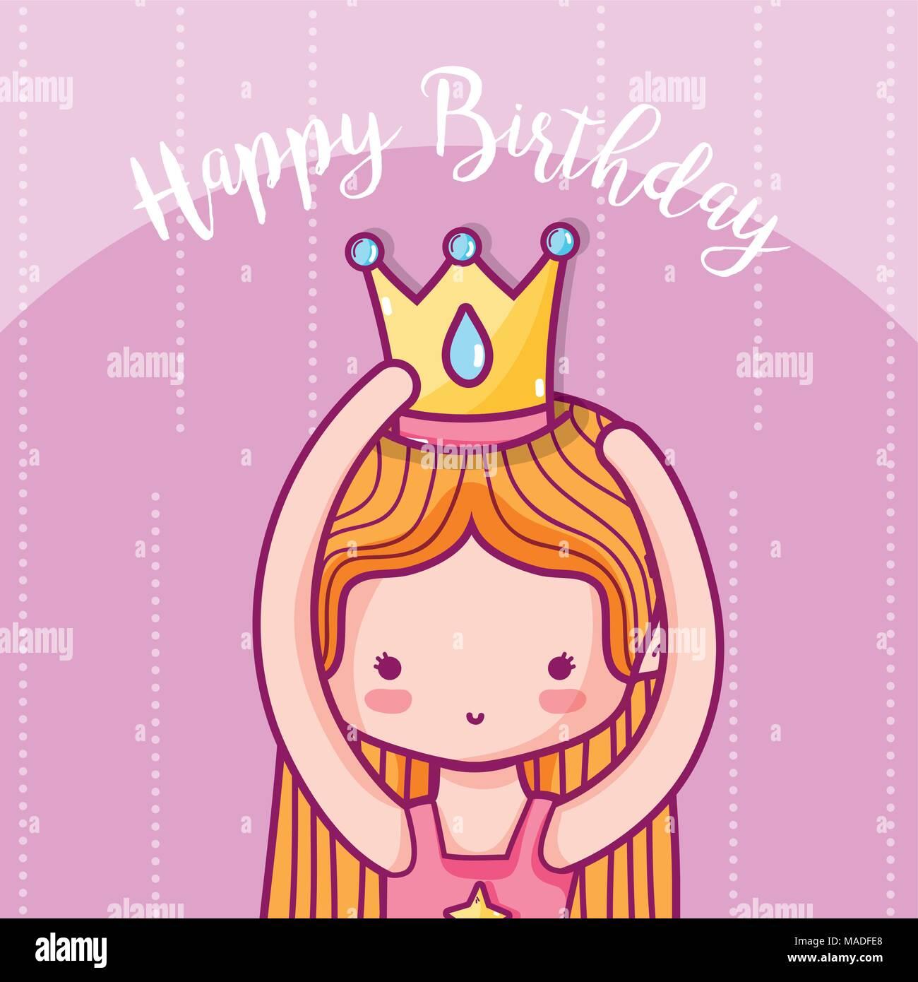 Happy Birthday Card Girl Avec La Princesse Cartoons Vector
