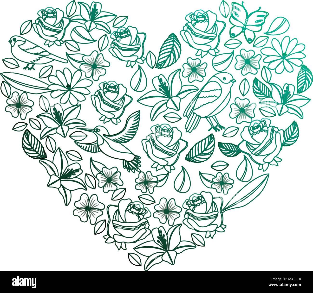 Motif coeur naturel avec fleurs et oiseaux papillons feuilles couleur vert dégradé d'illustration vectorielle Illustration de Vecteur
