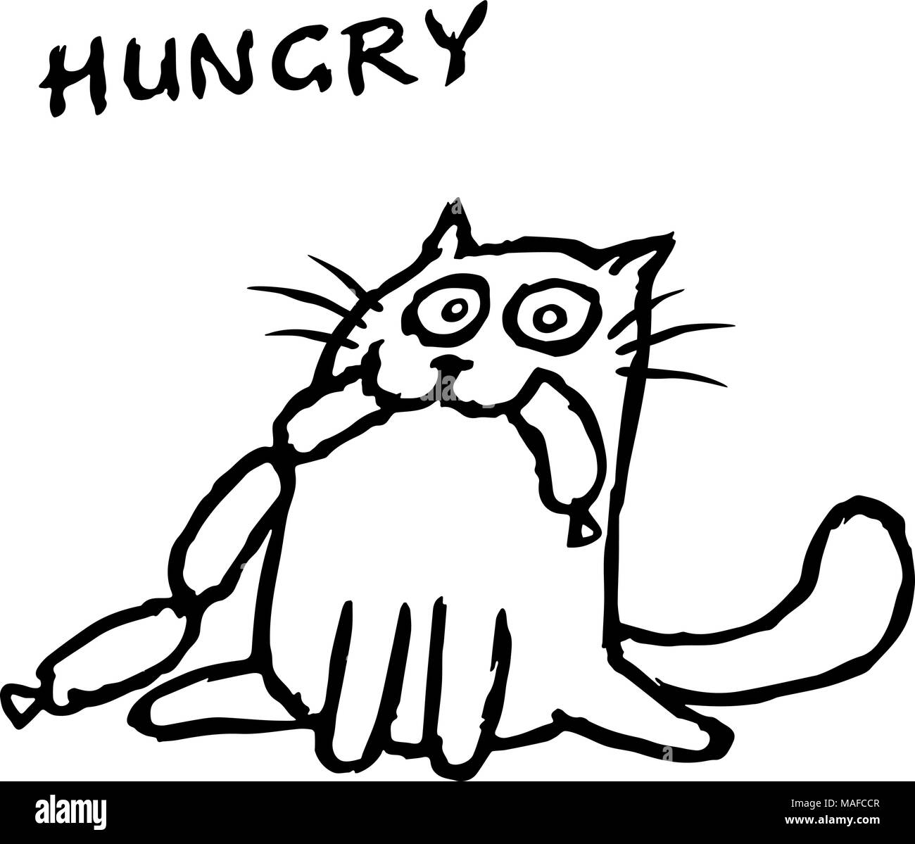 Le Chat Tik Mange Des Saucisses Funny Cartoon Cool Caractere