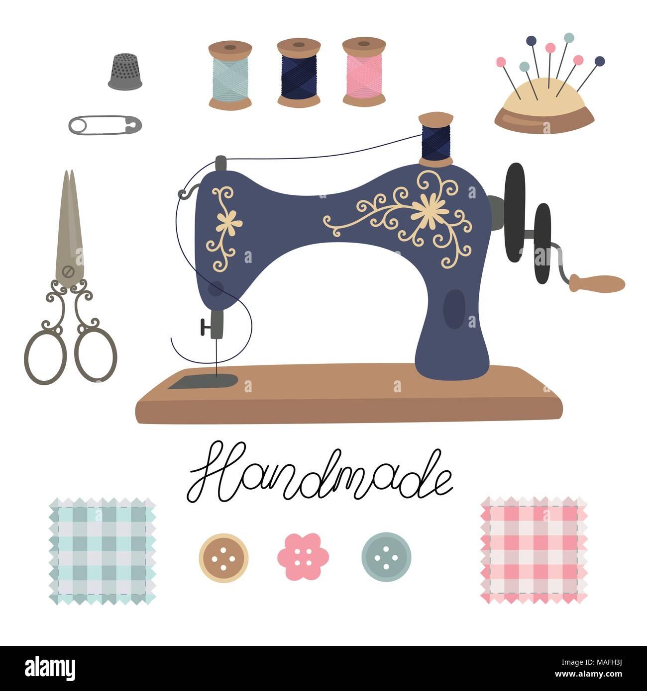 Kit De Couture Vintage Vector S Adapter Ciseaux Outils