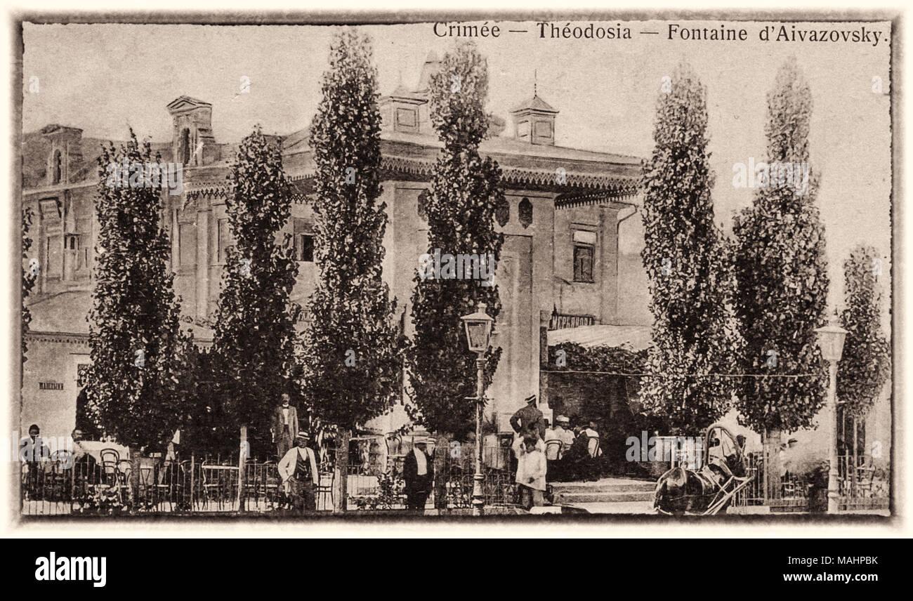 Vintage poster carte émise au début du 20ème siècle avec l'image de la fontaine de l'Ayvazovsky Feodosiya, Crimée, Russie Photo Stock